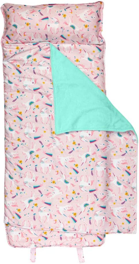Personalized Stephen Joseph All Over Pink Unicorn and Flowers Print Child Nap Mat with Custom Name