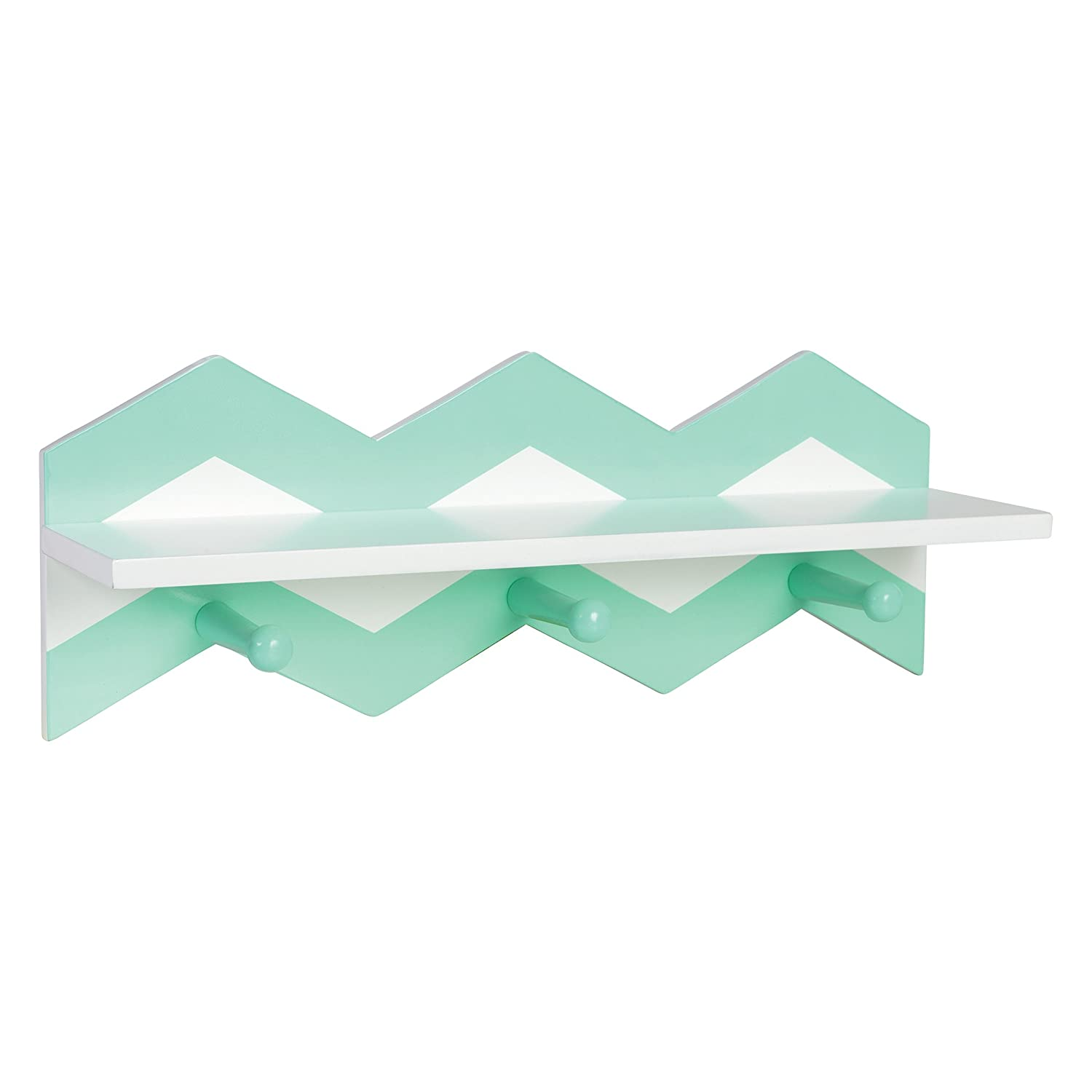 Trend Lab Chevron Wall Shelf, Mint Green/White