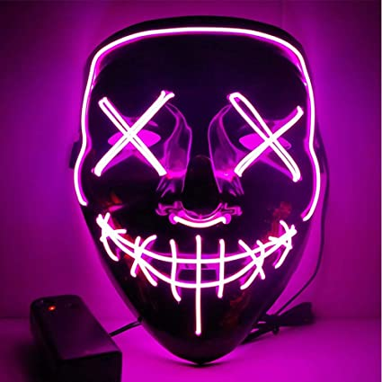 Mascara Halloween LED, Zolimx Adultos el Led Mask de Accesorio para Halloween Cosplay Cartoon Payaso Máscara de Terror para Party Night Club (Rosa)