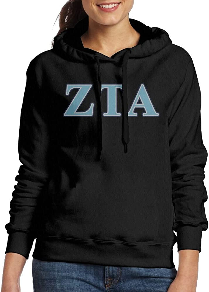 SmallTing WXF Women Zeta Tau Alpha Navy Blue and Baby Blue Letters Funny Jogging Black Hoodie