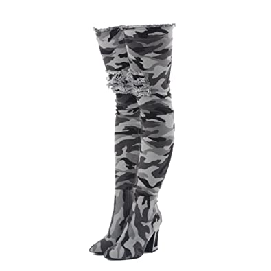 Camouflage Pattern Denim Meatal Heel Overknee Thigh High Army Boots for Women