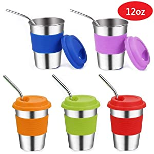 Stainless Steel Kids Cups with Lids and Straws,12oz Metal Kids Straw Cups with Lids,Leak Proof Kids Tumblers with Straws,Stainless Steel Kids Sippy Cups with Lids for Kids and Toddler