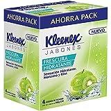 Kleenex Jabón en Barra Frescura Hidratante, Aroma Manzana y Kiwi, 160 g, Paquete con 4 barras