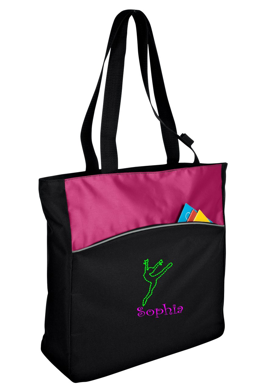 Personalized Dance 2 Two-Tone Colorblock Tote Bag (Passion Pink/Black)