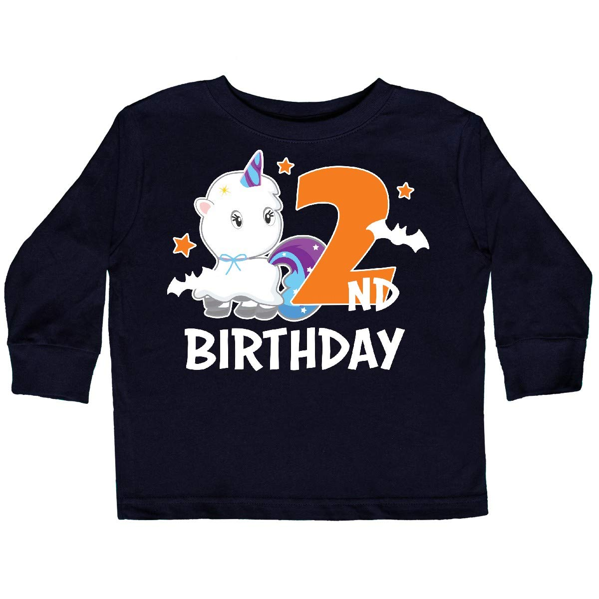 inktastic 2nd Birthday with Unicorn Ghost and Bats Toddler Long Sleeve T-Shirt