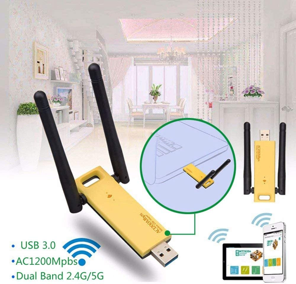 Wireless USB WiFi Adapter Dual Band 1200Mbps Wireless USB 3.0 WiFi Adapter 2.4GHz//5GHz Realtek RTL8812AU Network Card Dongle 2 Antennas for Laptop Desktop Tablet PC Smart Phone