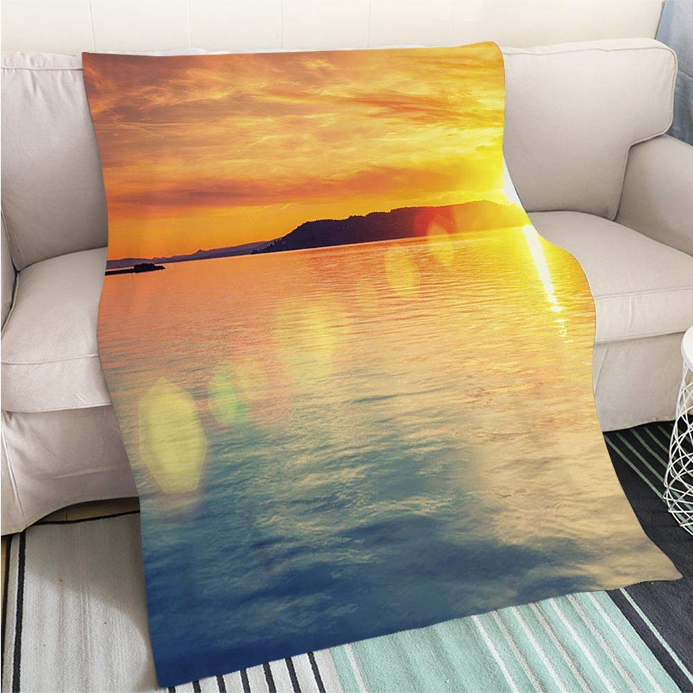 color2 47 x 80in BEICICI Art Design Photos Cool Quilt Sunset sea Waves Fun Design All-Season Blanket Bed or Couch