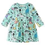 Little Girls Long Sleeve Dress Casual Cute Dinosaur Animal Print Dress for 1-7 Year (3-4Years, Green Dinosaur)