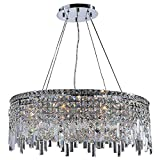 Worldwide Lighting W83603C28 Cascade 12 Light Round Crystal Chandelier, Chrome Finish and Clear Crystal, 28