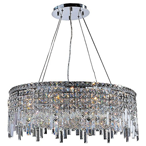 Worldwide Lighting W83603C28 Cascade 12 Light Round Crystal Chandelier, Chrome Finish and Clear Crystal, 28″ D x 10.5″ H