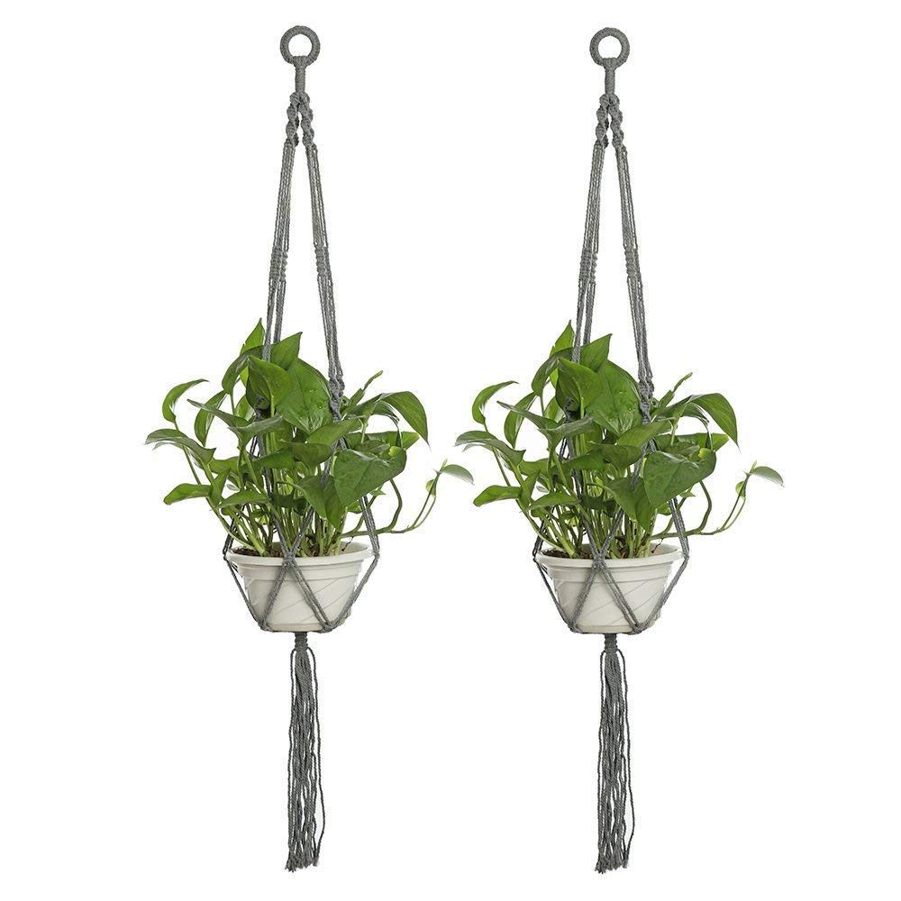 2 Pcs Planter Basket Indoor Outdoor Hanging Plant Hanger cotton Rope 4 Legs 40 Inch,Handmade Indoor Outdoor Hanging Rope Holder with Ceiling Hook (grey) uthome
