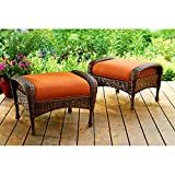 Patio Ottoman Set of 2 Brown Wicker Padded Cushion Pillow in Orange Seat Patio Bench All Weather Furniture & eBook by Easy&FunDeals