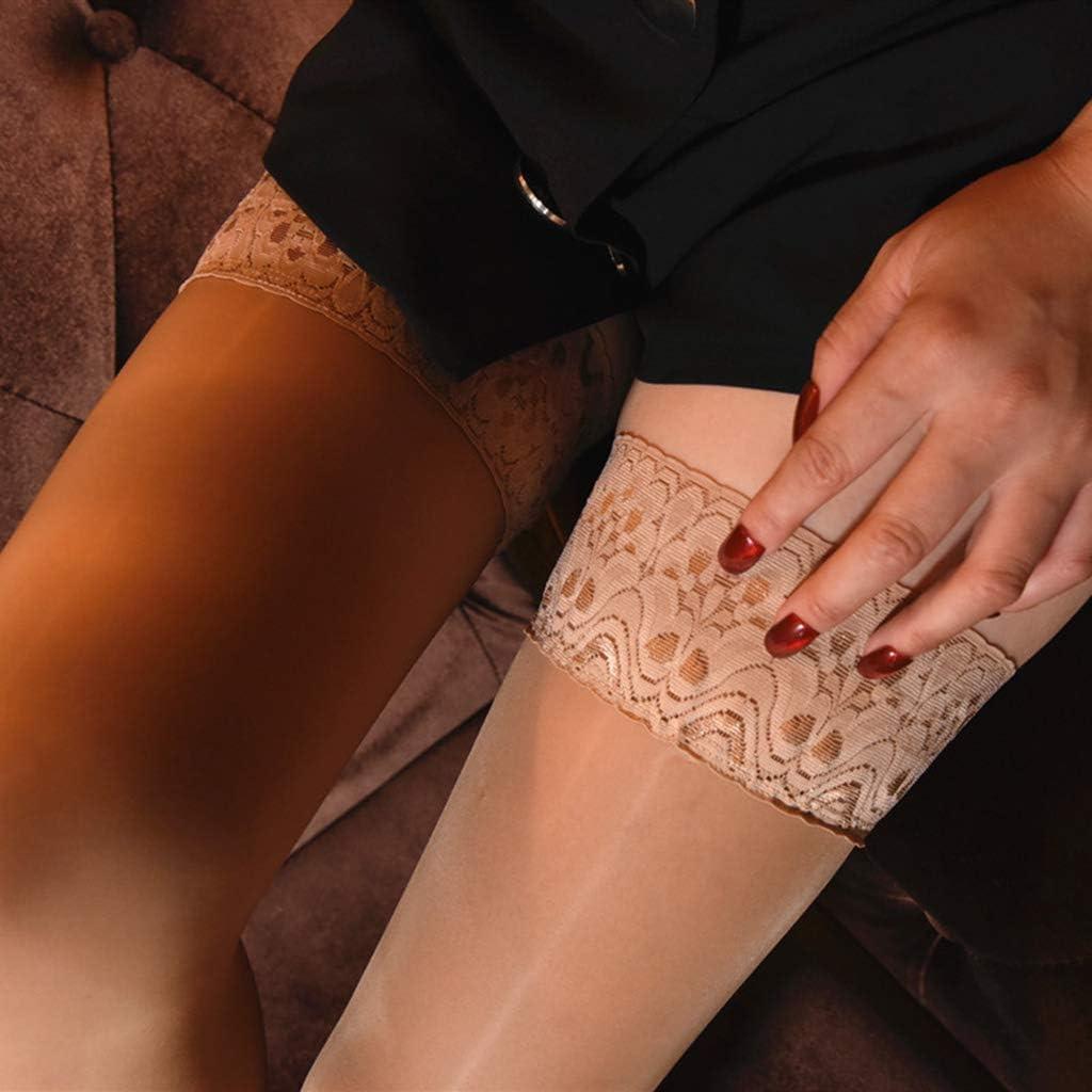 Gwxevce Calze da Donna in Silicone Antiscivolo Alte Calze Luccicanti in Pizzo Bianco