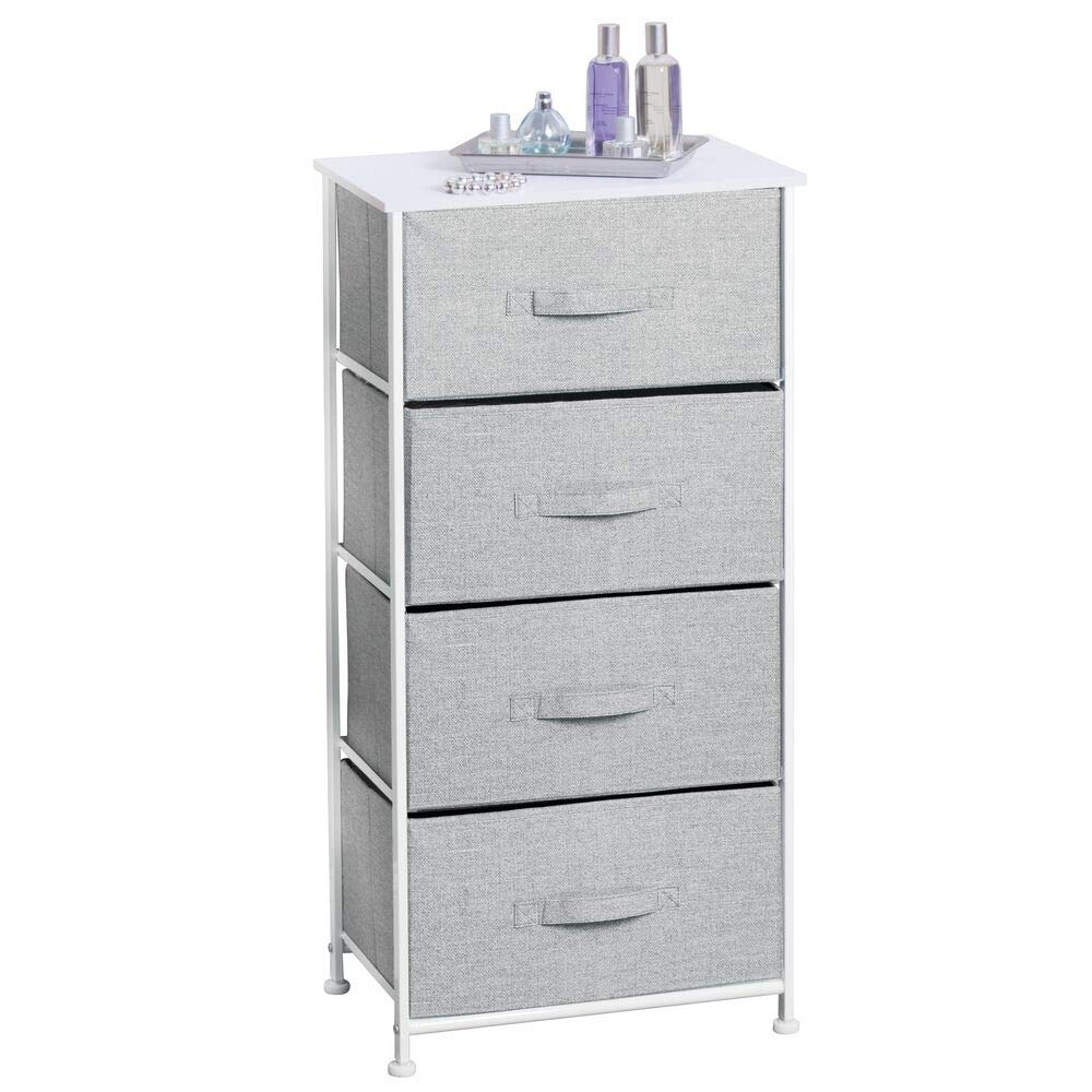 mDesign Fabric 4-Drawer Storage Organizer Dresser for Clothing, Sweaters, Jeans, Blankets - Gray by mDesign