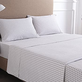 High Quality 4 Piece Gingham Plaid Double Brushed 1800 Series Microfiber Bed Sheets Set  (Queen,