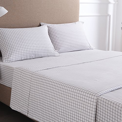 4-Piece Gingham Plaid Double Brushed 1800 Series Microfiber Bed Sheets Set (Queen, White)- Fitted Sheet+Flat Sheet+2 Pillowcases, Wrinkle, Fade & Stain Resistant and Hypoallergenic by Exclusivo Mezcla