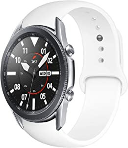 Morsey 22mm Soft Silicone Watch Bands Compatible for Samsung Galaxy Watch 46mm/Samsung Galaxy Watch 3 45mm/Gear S3 Frontier/Classic, Sport Strap Wristband Replacement Bracelet for Women Men