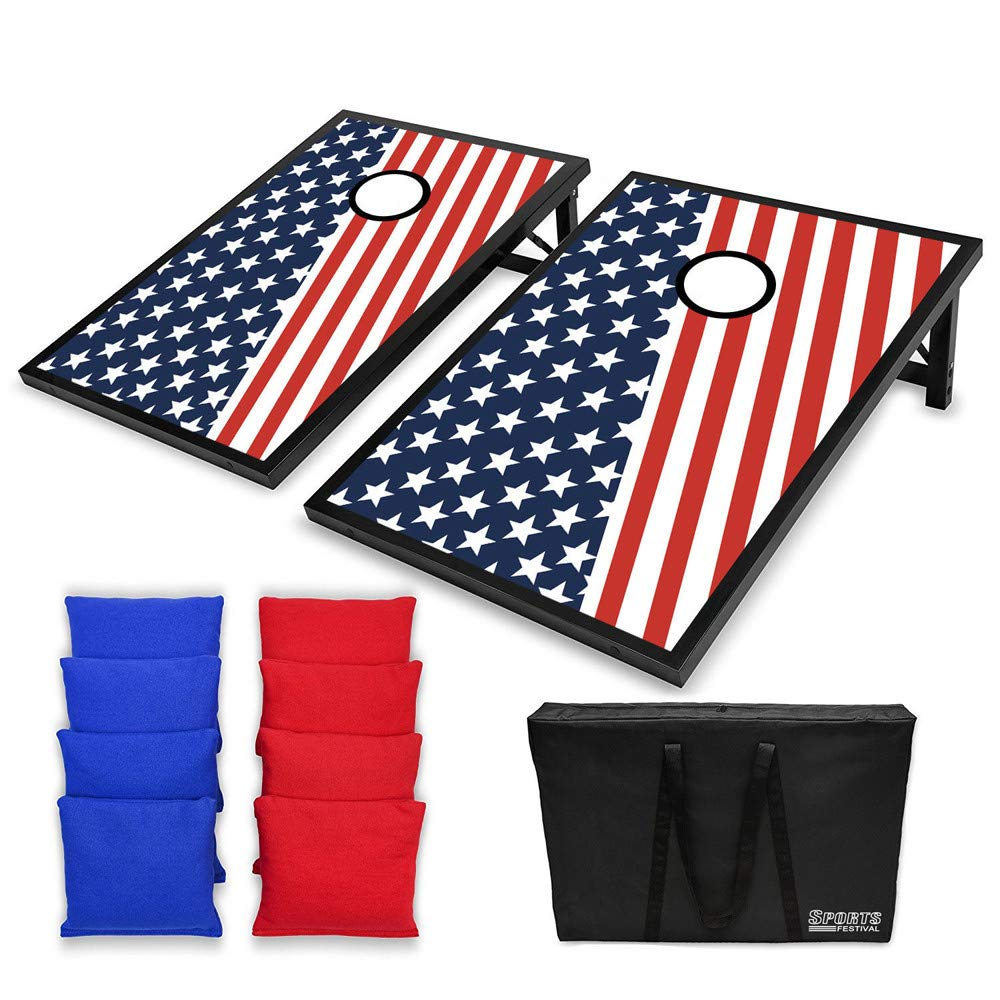 Fineser LED Light up Cornhole Bean Bag Toss, 2 Easy Transport Game Platforms with Convenient Tote Bag and 8 Toss Bags