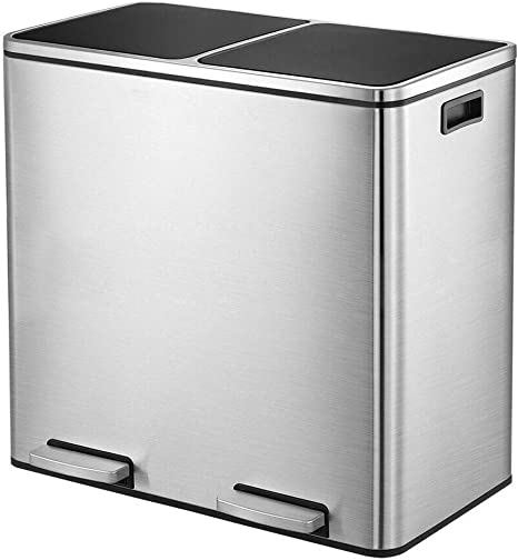 60 L White Kitchen Trash Can Recycle Garbage Can Stainless Steel Step on Bin