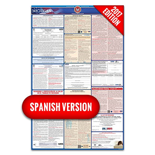 2017 Michigan (Spanish) Labor Law Poster – State & Federal Compliant – Laminated