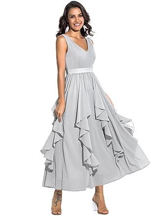 Noctflos Women\'s Chiffon V Neck Ruffled Elegant Evening Party Prom ...