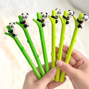 Gydthdeix 12 Pcs 0.5mm Newest Novelty Cute Kawaii Animal Panda Hugs Bamboo Silicone Plastic Shape Black Ballpoint Writing Creative Gel Ink Pens for Office School Children Gift Stationery Supplies Set