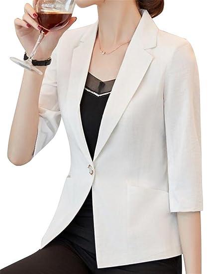 Fubotevic Women s Lightweight Mini Cotton Linen Blazer Casual Slim Fit  Blazer Jacket Suit Coat ... 1978f79386