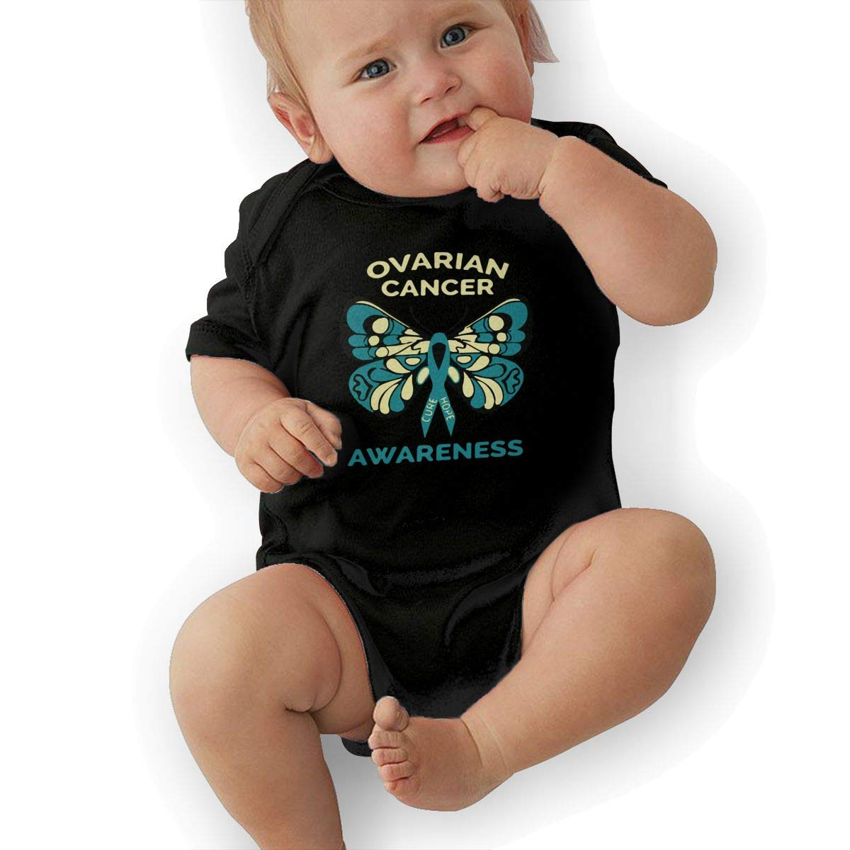 Cute Ovarian Cancer Awareness Playsuit U88oi-8 Short Sleeve Cotton Bodysuit for Unisex Baby