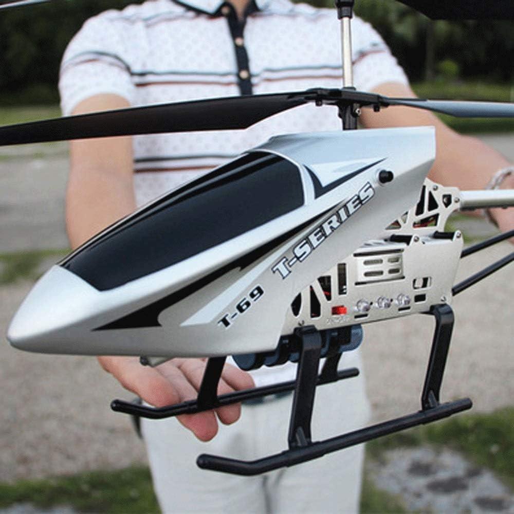 Mopoq (2個の電池で)長さ80センチ3.5CHチャンネル抵抗ドロップ巨大なRC飛行機のおもちゃLEDヘリコプターRCヘリコプター安定した簡単な学習良い操作ヘリコプターギフト十代の少年少女大人飛行玩具高品質耐性RC飛行機超大型ヘリコプター充電誰も航空機モデル玩具 (Color : 銀)