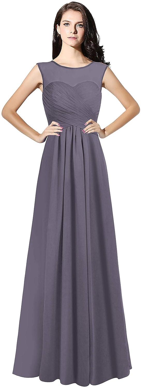 Steel CladiyaDress Women Illussion Neck Long Bridesmaid Dress Evening Gowns C068LF