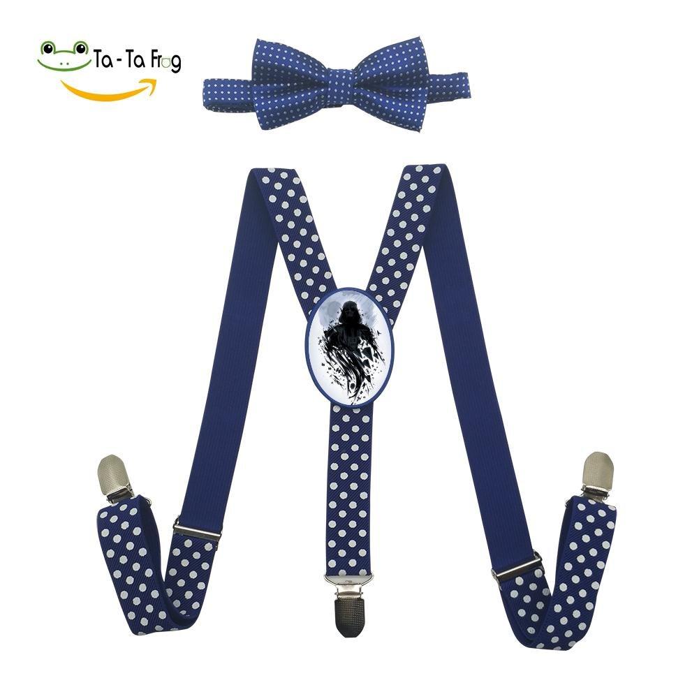 Xiacai Skull Art Suspender/&Bow Tie Set Adjustable Clip-On Y-Suspender Boys
