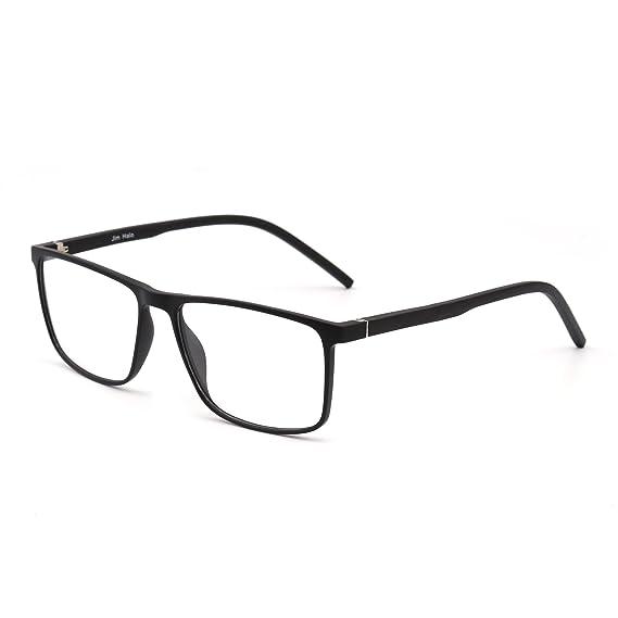 38dd45774a3 Retro Optical TR Frame Light Spring Hinge Rectangle Clear Lens Glasses Men  Women (Black