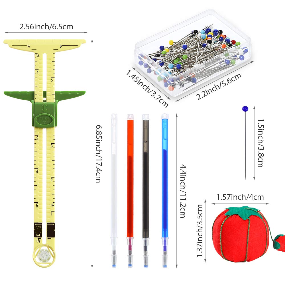 Sewing 100 Pieces Sewing Pins Tomato Pin Cushion for Marking Button Holes Pllieay 5-in-1 Sliding Gauge Sewing Measuring Tool T-Shaped Sliding Gauge Sewing Measuring with 4 Colors Heat Erase Pens