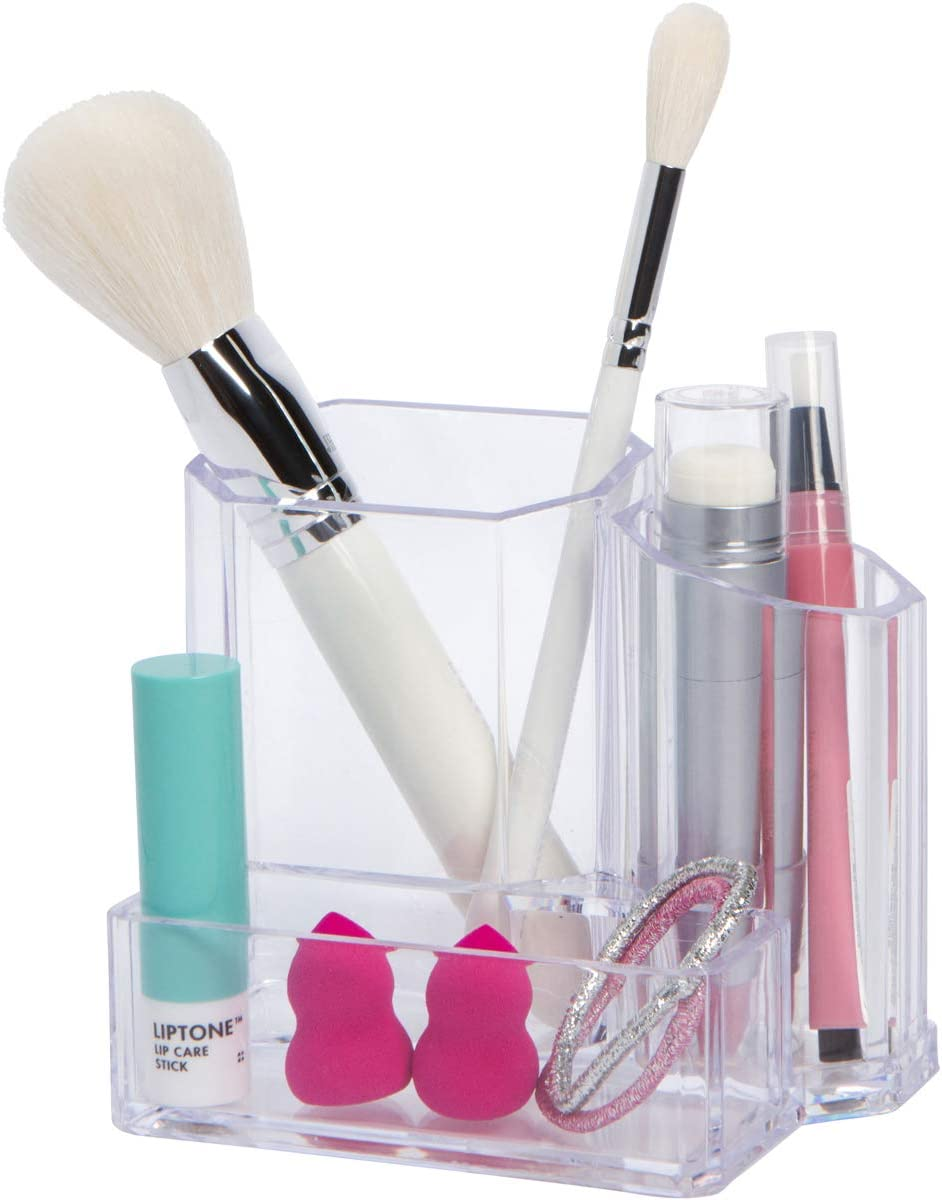 GROOVI Beauty - The Artist - Makeup Brush, Blenders and Pencil Holder Organizer (3 Compartments) - Cosmetic Storage for Bathroom, Sink, Desk