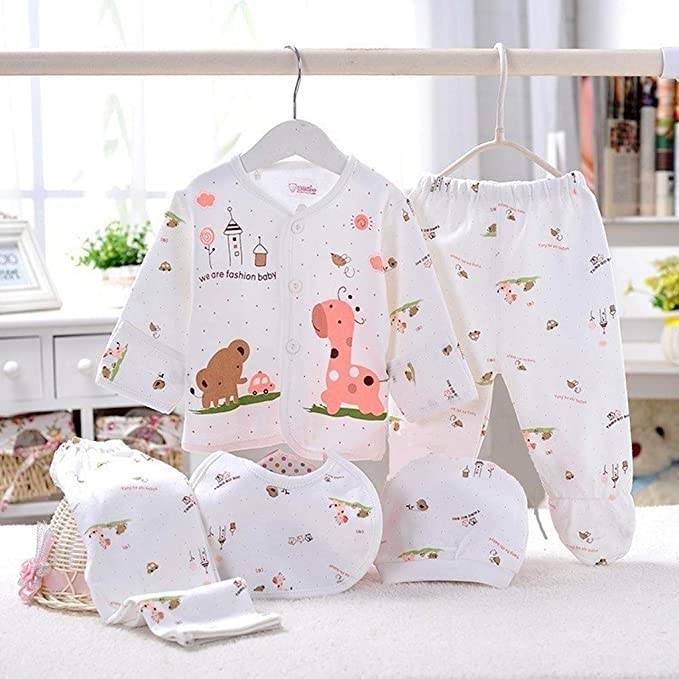 Amazon.com: 5PCS Newborn Boys Girls Cartoon Long Sleeve Tops+Hat+ ...