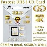 Amplim 2-Pack 32GB Micro SDHC U3 Card Plus SD Adapter Extreme Pro Class 10 UHS-I MicroSDHC 95MB/s Read, 90MB/s Write. Ultra High Speed HD UHD 4K Video. Internal/External MicroSD Flash Memory