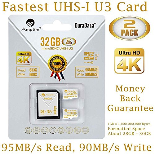 Amplim 2-Pack 32GB Micro SDHC U3 Card Plus SD Adapter Extreme Pro Class 10 UHS-I MicroSDHC 95MB/s Read, 90MB/s Write. Ultra High Speed HD UHD 4K Video. Internal/External MicroSD Flash (Sdhc Extreme Hd Video)
