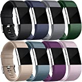 For Fitbit Charge 2 Bands, Wepro Replacement Bands Accessory with Air Holes for Fitbit Charge 2 HR, 15 Colors, Buckle, Large, Small