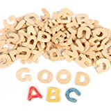 OULII Jeu de lettre en bois Alphabet en bois BRICOLAGE Noël cadeau d'anniversaire pour enfants