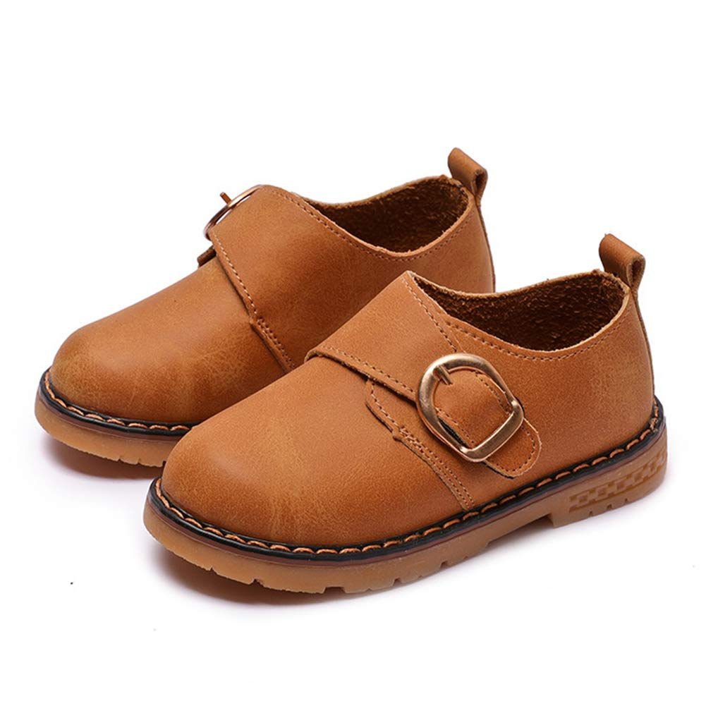 F-OXMY Toddler Boys Slip-On Oxfords Dress Shoes Anti-Skid Rubber Outsole Outdoor Casual Shoes Brown