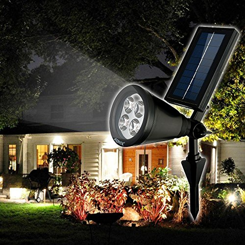 AGPTEK [180 Angle Adjustable] Bright Solar LED Light Outdoor/Rechargeable Waterproof Solar Powered Spotlight/Landscape Light for Garden,Pool Pond Patio,Deck,Yard,Driveway,Stairs,Outside Wall