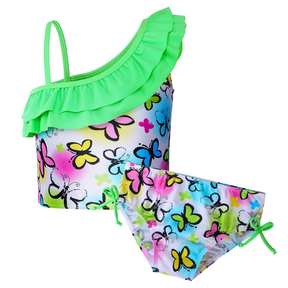 BAOHULU Little Girls Rash Guard Set Flower Tankini Swimsuit