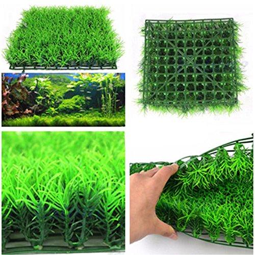 Aquarium Décor Plastic Lawn, Artificial Water Aquatic Green Grass Plant Lawn Aquarium Fish Tank Landscape New