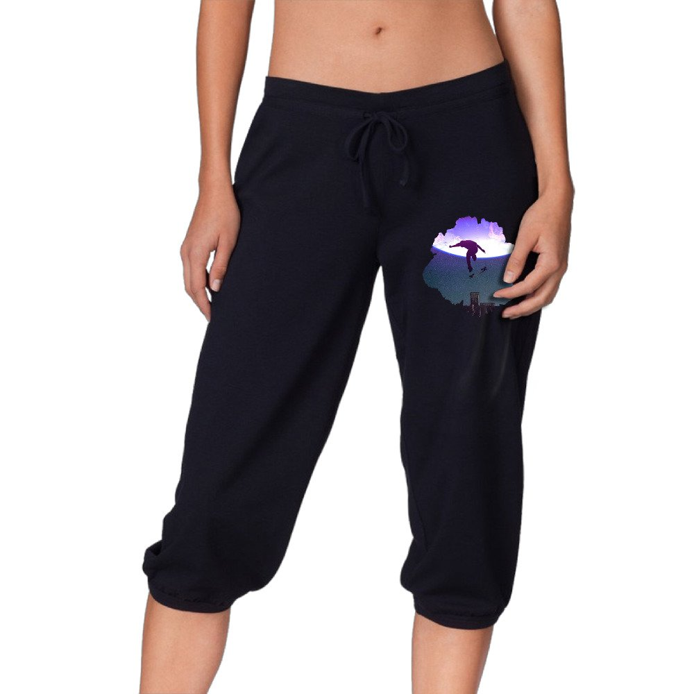 Skateboard Moon Rooftop Women's Drawstring Elastic Cropped Jogger Pants by Frered