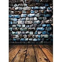 Qian Wooden Floor Photo Backdrop Brick Wall Studio Vinyl Photography Background Props 5x7ft qx032