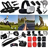 Xtech TENNIS ACCESSORIES Kit for GoPro Hero 4 3+ 3 2 1 Hero4 Hero3 Hero2, Hero 4 Silver, Hero 4 Black, Hero 3+ Hero3+ Hero 3 Silver, Hero 3 Black and for basketball, Soccer, Football, Golf, Golfing, Tennis, Baseball, Volleyball, Beach-ball, Hockey, Ice Hockey and other Similar Sport Activities Includes: + Head Strap Mount + Helmet Harness Mount + Chest Strap Mount + 2 J-Hook Mount + Camera Wrist Mount + Selfie Stick Monopod Pole + 2 Curved Adhesive Stickers + Curved Surface Mounts + MORE