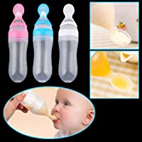 Baby Silicone Squeeze Feeding Bottle with Spoon Food Rice Cereal Feeder 90ML Fresh Milk Feeder Feeding Tools