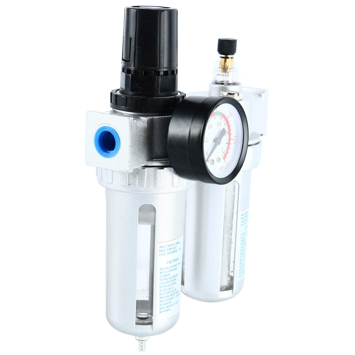 YaeTek 3 in 1 Twin Air Filter Pressure Regulator Gauge Kit 3//8 Water//Oil Trap Separator