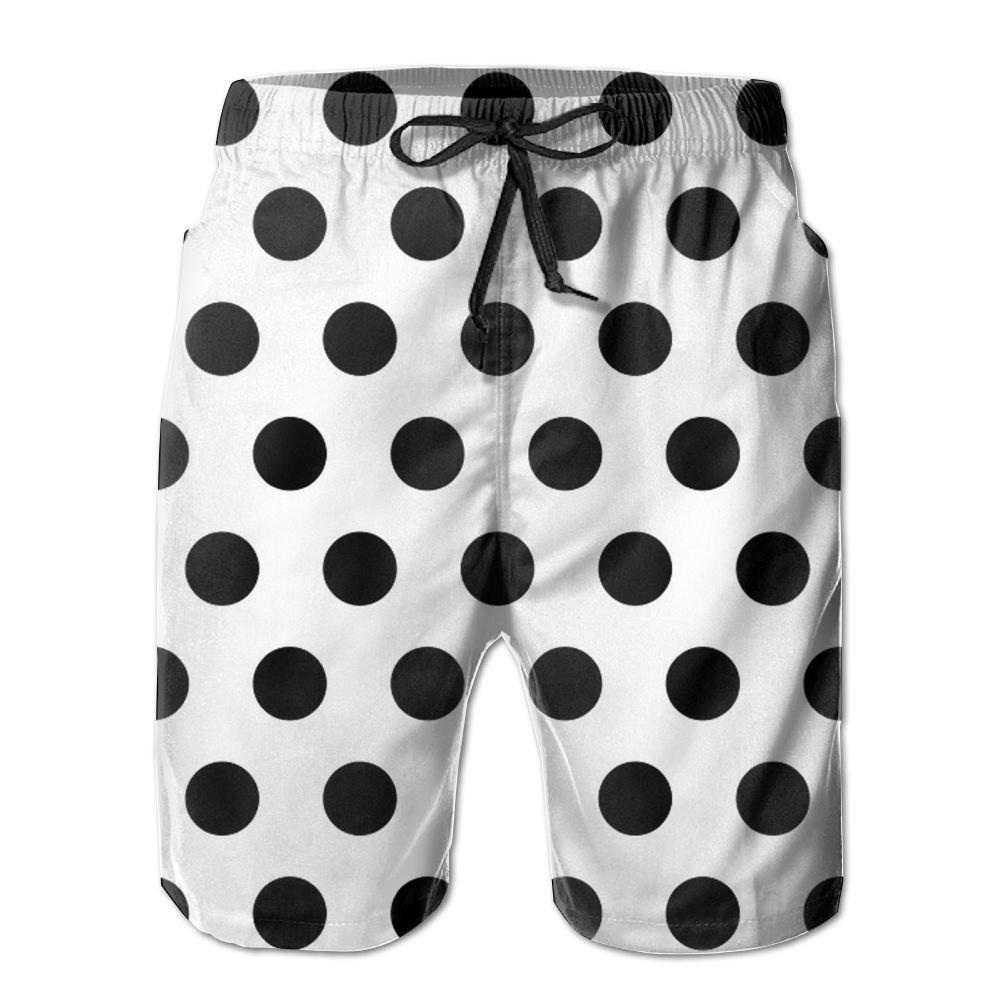 a3125b0828 LONG_Don Black Polka Dot Pattern Knee Length Men's Beachwear Board Shorts  Swim Trunks | Amazon.com