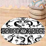 VROSELV Custom carpetTribal Ethnic African Aztec Dance with Geometrical Borders Triangles Round Swirls Art for Bedroom Living Room Dorm Black and White Round 79 inches